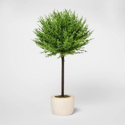 """19"""" x 10"""" Artificial Cypress Arrangement in Wooden Pot Green/Natural - Threshold™"""