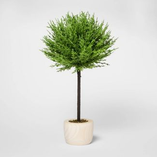 "19"" x 10"" Artificial Cypress Arrangement in Wooden Pot Green/Natural - Threshold™"