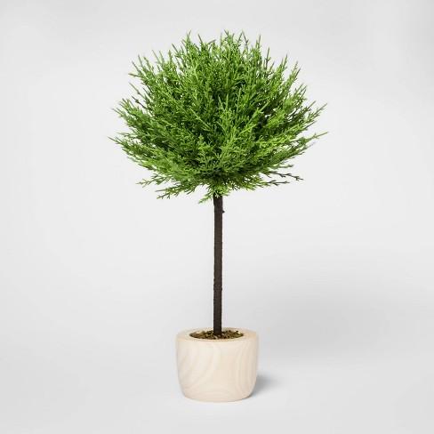 "19"" x 10"" Artificial Cypress Arrangement in Wooden Pot Green/Natural - Threshold™ - image 1 of 1"