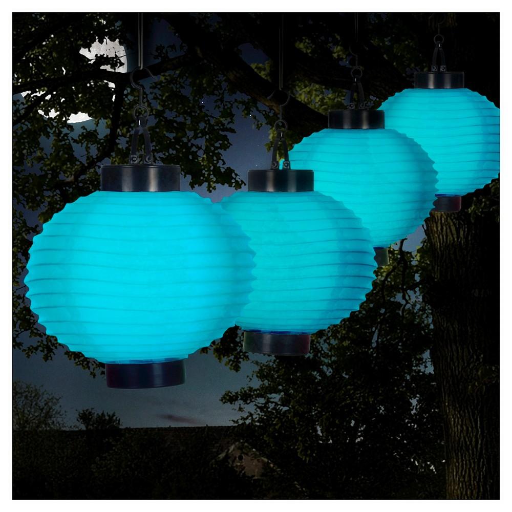 Pure Garden Outdoor Solar Chinese Lanterns Set of 4 - Blue