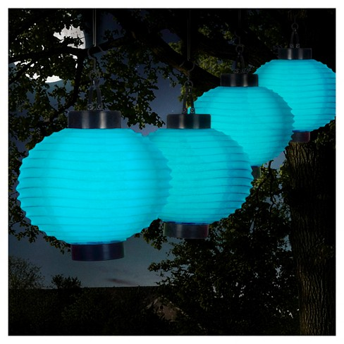 Pure Garden Outdoor Solar Chinese Lanterns Set of 4 - Blue - image 1 of 6