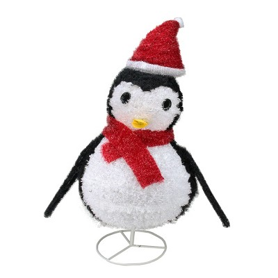 "Northlight 32"" Pre-Lit White and Red Penguin Outdoor Christmas Decor"