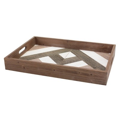 Geometric Wooden Serving Tray Brown - Stonebriar Collection
