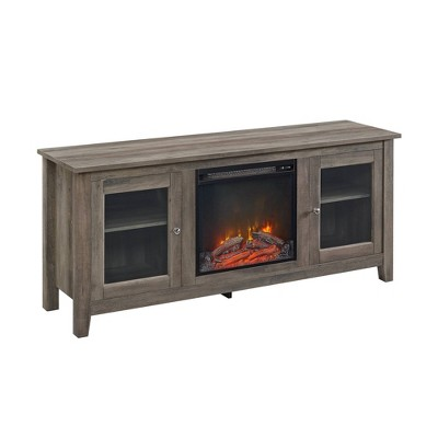 """Cozy Glass Door Fireplace TV Stand for TVs up to 65"""" Gray Wash - Saracina Home"""
