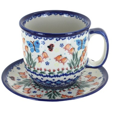 Blue Rose Polish Pottery Joy of Spring Coffee Cup & Saucer