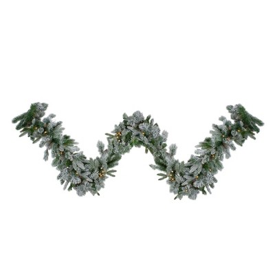 """Northlight 9' x 14"""" Pre-Lit Flocked Mixed Colorado Pine Artificial Christmas Garland - Warm White LED Lights"""