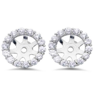 Pompeii3 3/4ct Diamond Halo Earring Studs Jackets 14K White Gold (6-6.7mm)
