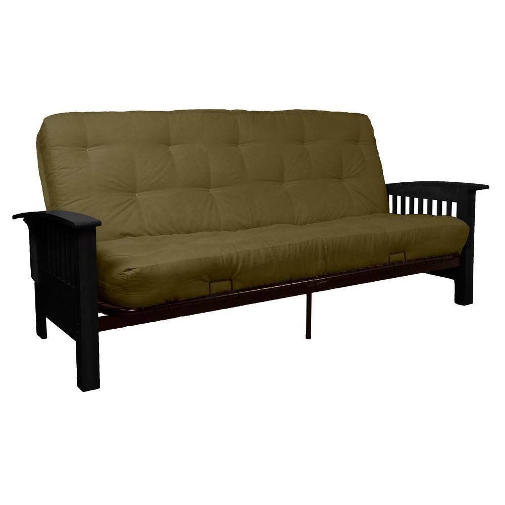 Craftsman 8 Cotton/Foam Futon Sofa Sleeper - Black Wood Finish - Epic Furnishings, Green