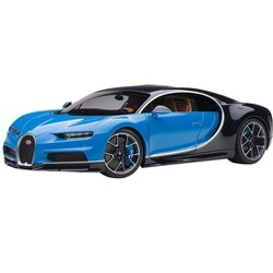 Bugatti Chiron French Racing Blue and Atlantic Blue 1/18 Model Car by Autoart