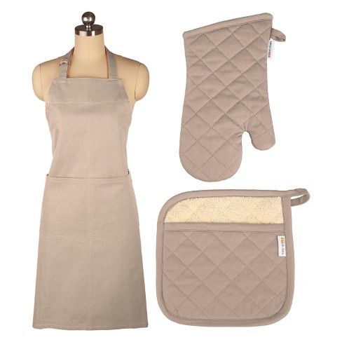 Cooking Apron/Mitt/Potholder Beige 3pc Set -Mu Kitchen - image 1 of 1