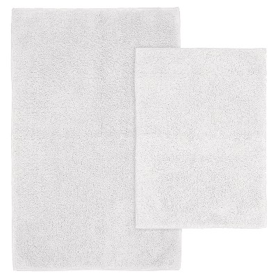 2pc Queen Cotton Washable Bath Rug Set White - Garland