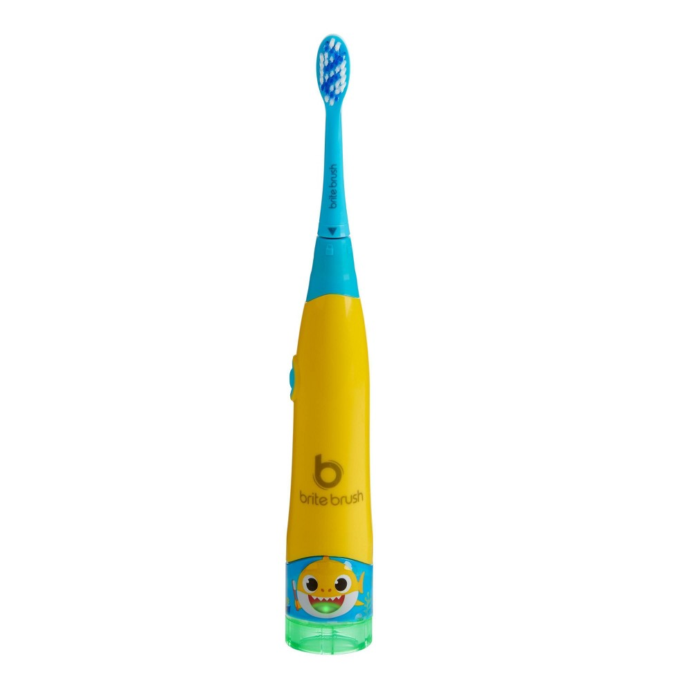 BriteBrush is the smart toothbrush that makes it fun to brush right! Featuring revolutionary oral care technology including smart brushing sensors, side change recognition, sonic vibration, and a parent check light. BriteBrush provides live feedback to encourage full mouth coverage. The Parent Check Light allows parents to confirm if their child brushed properly. With the help of Baby Shark, your child can learn how to properly brush their teeth while having a blast. Play engaging games and earn star rewards as you brush. Age Group: kids.