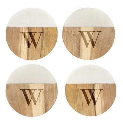 Cathy's Concepts Monogram Acacia and Marble Coasters W - Set of 4