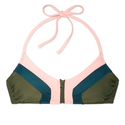 Women's Zip Front Ribbed Bralette Bikini Top - Xhilaration Olive XL, Green