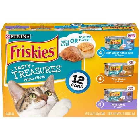 Purina Friskies Tasty Treasures Prime Fillets Ocean Fish, Chicken & Turkey Wet Cat Food - 5.5oz cans - image 1 of 4