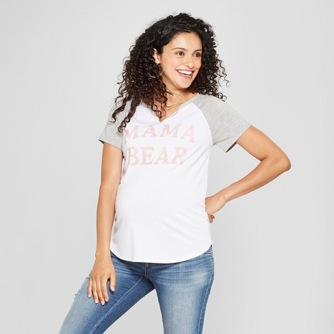 63d685f20a347 Maternity Mama Bear Short Sleeve Graphic T-Shirt - Grayson Threads White