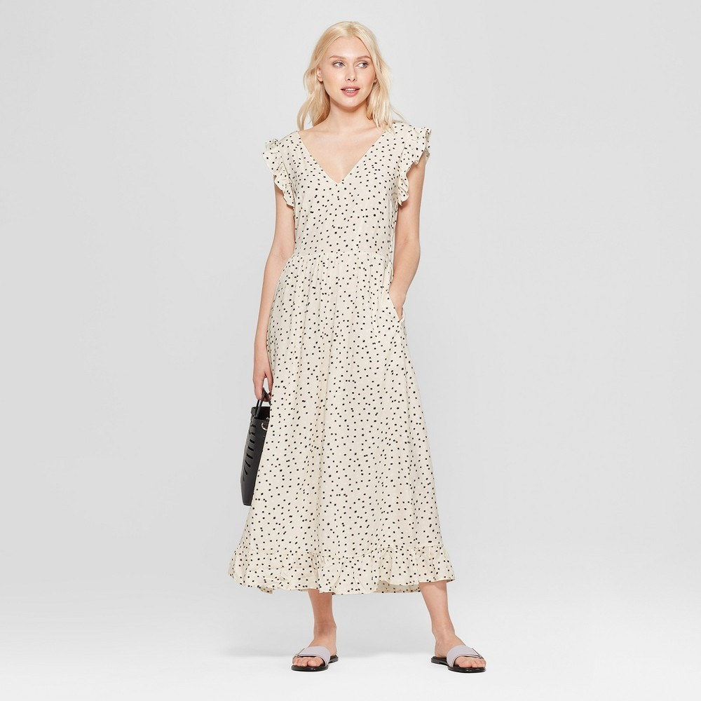 1930s Day Dresses, Afternoon Dresses History Womens Ruffle Sleeve V-Neck Maxi Dress - A New Day Cream S White $29.99 AT vintagedancer.com