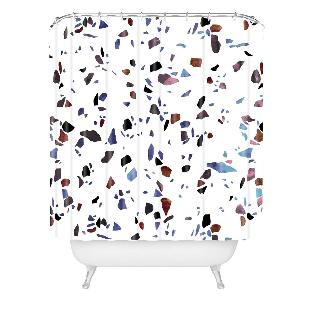 Emanuela Carratoni Autumnal Terrazzo Texture Shower Curtain Blue Deny Designs