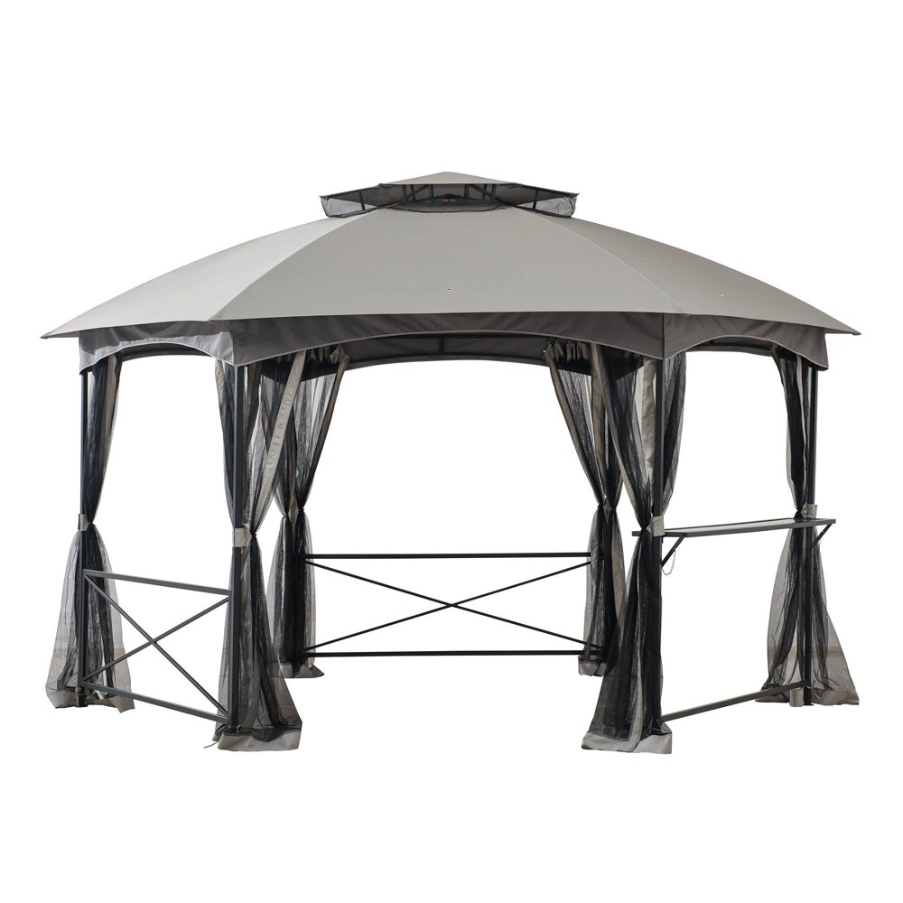 Image of Briar 14' X 11' Steel Frame 2-Tier Outdoor Vented Gazebo - Sunjoy