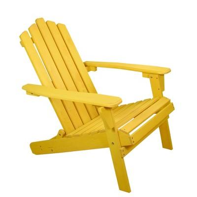 "Northlight 36"" Yellow Classic Folding Wooden Adirondack Chair"