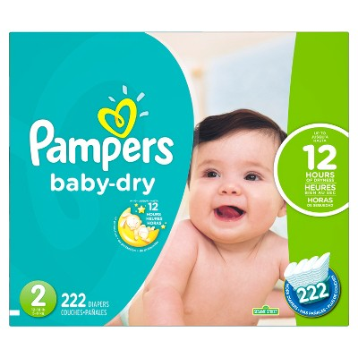 Pampers Baby Dry Diapers Economy Plus Pack Size 2 (222 ct)