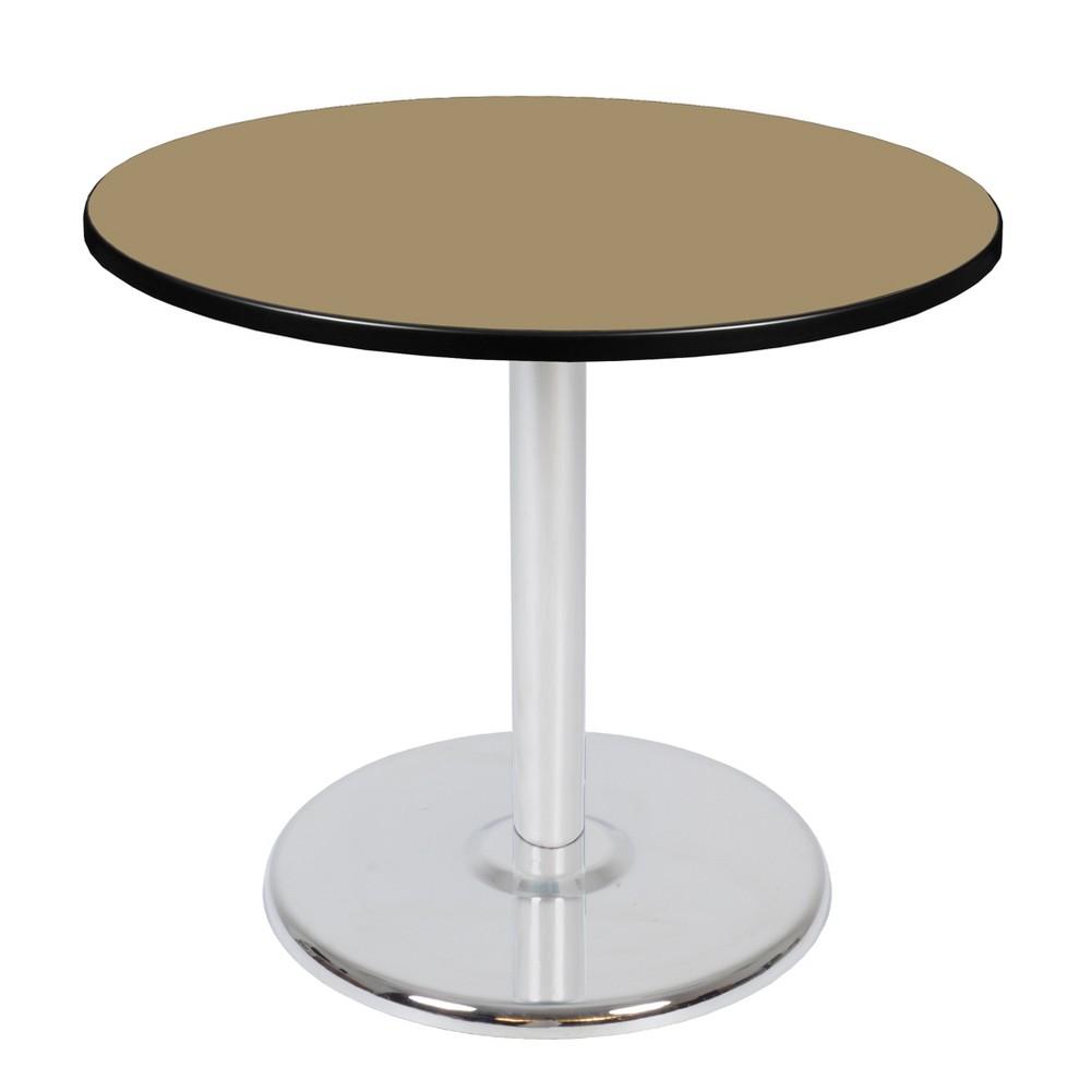 36 Via Round Platter Base Table Gold/Chrome (Gold/Grey) - Regency