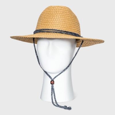 Men's Straw Lifeguard Panama Hat with Red/White Cord - Goodfellow & Co™ Brown M/L