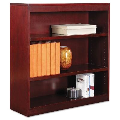 Alera Square Corner Wood Veneer Bookcase Three-Shelf 35-5/8 x 11-3/4 x 36 Mahogany BCS33636MY