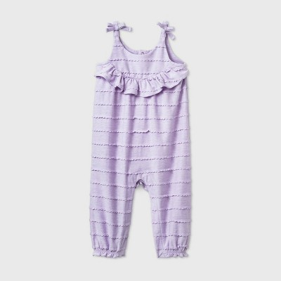 Baby Girls' Textured Scallop Romper - Cat & Jack™ Lavender 6-9M