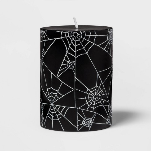 "4"" Spider Web Halloween Unscented Pillar Candle Black/White - Hyde & EEK! Boutique™ - image 1 of 2"