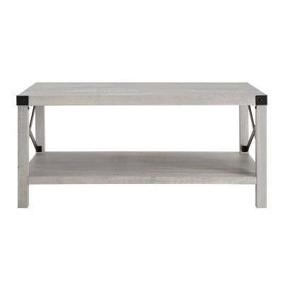 X Side Cozy Industrial Farmhouse Coffee Table Stone Gray - Saracina Home