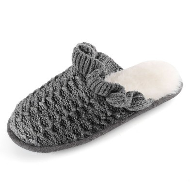RockDove Women's Knit Ruffled Cuff Memory Foam Slipper