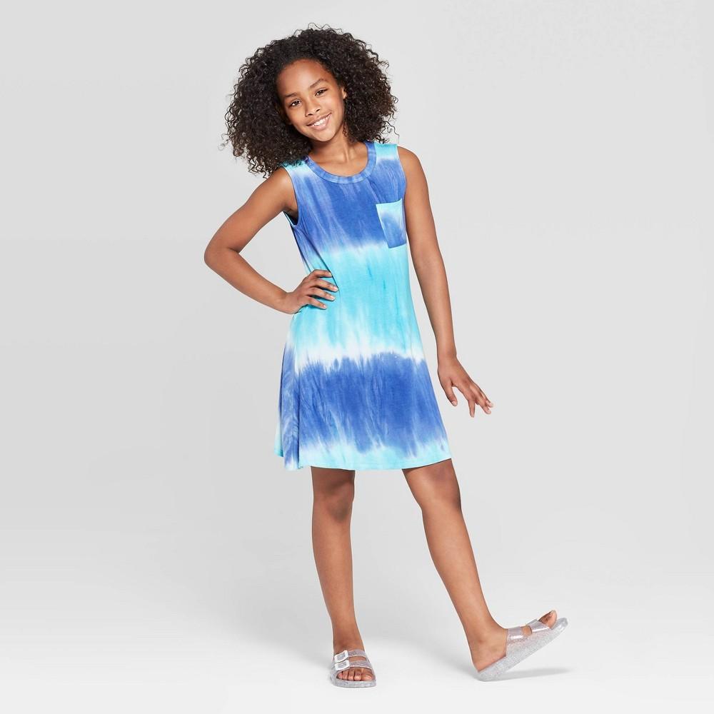 a780838815f9 Girls Pocket Tank Dress art class Aqua Blue XL