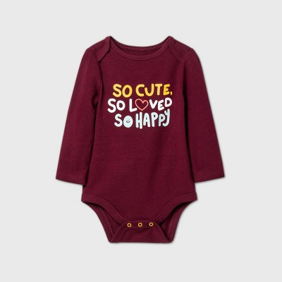 Baby Boys' 'So Cute' Long Sleeve Bodysuit - Cat & Jack™ Burgundy 0-3M
