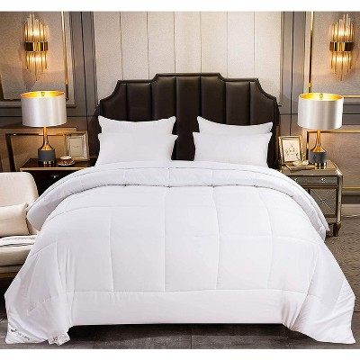 Jacler White Down Alternative Quilted Comforter All-Season 1800 Thread Count 4 Corner Duvet Tabs or Stand-Alone Comforter