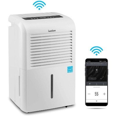 Ivation 4,500 Sq. Ft. Smart Wifi Dehumidifier with App, Continuous Drain Hose Connector, 2.25 Gal Reservoir for Medium & Large Rooms - White
