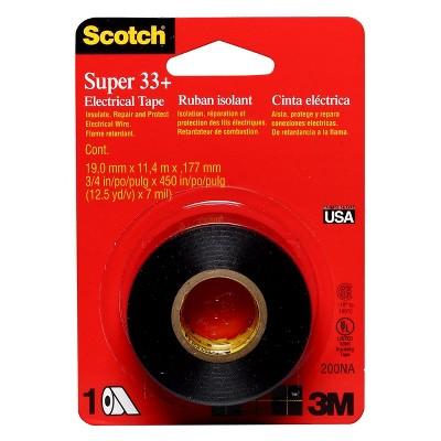 Scotch® Super 33+ Electrical Tape Black, 3/4 in x 450 in