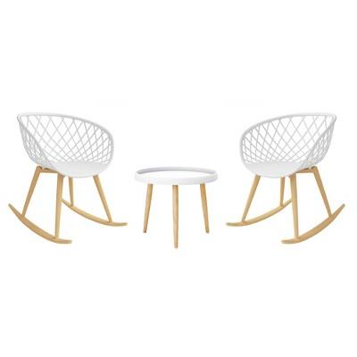 3pc Kurv Rocking Chair Set White/Natural - Jamesdar