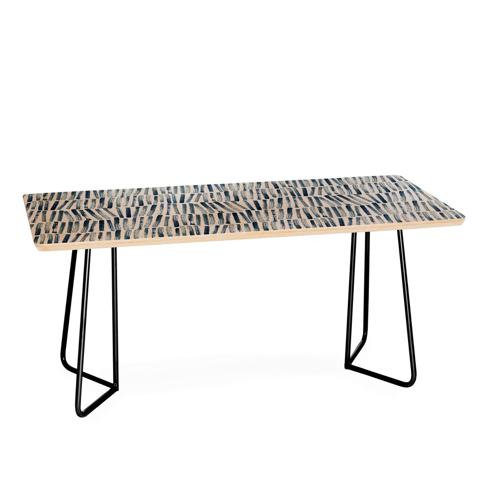 Dash and Ash Strokes and Waves Coffee Table Blue Gray - Deny Designs