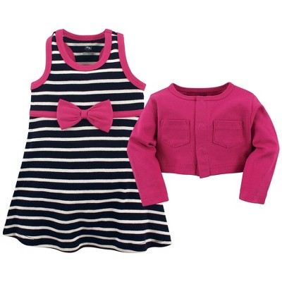 Hudson Baby Infant and Toddler Girl Cotton Dress and Cardigan 2pc Set, Berry Navy