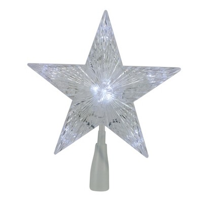 "Northlight 10"" LED Lighted 5 Point Star Christmas Tree Topper - Clear Lights"