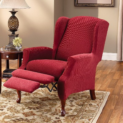 Garnet Stretch Pique Slipcover Wing Recliner - Sure Fit, Red