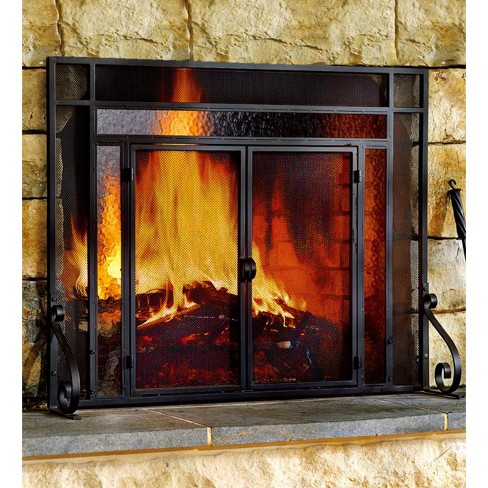 2 Door Steel Fireplace Fire Screen With Tempered Glass Accents