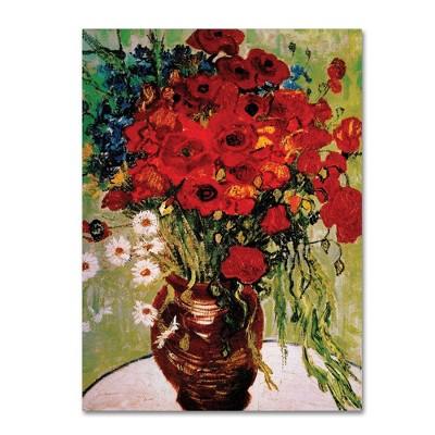 """24"""" x 32"""" Daisie & Poppies by Vincent Van Gogh - Trademark Fine Art"""