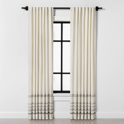 "95"" Engineered Hem Stripe Curtain Panel Gray / Sour Cream - Hearth & Hand™ with Magnolia"