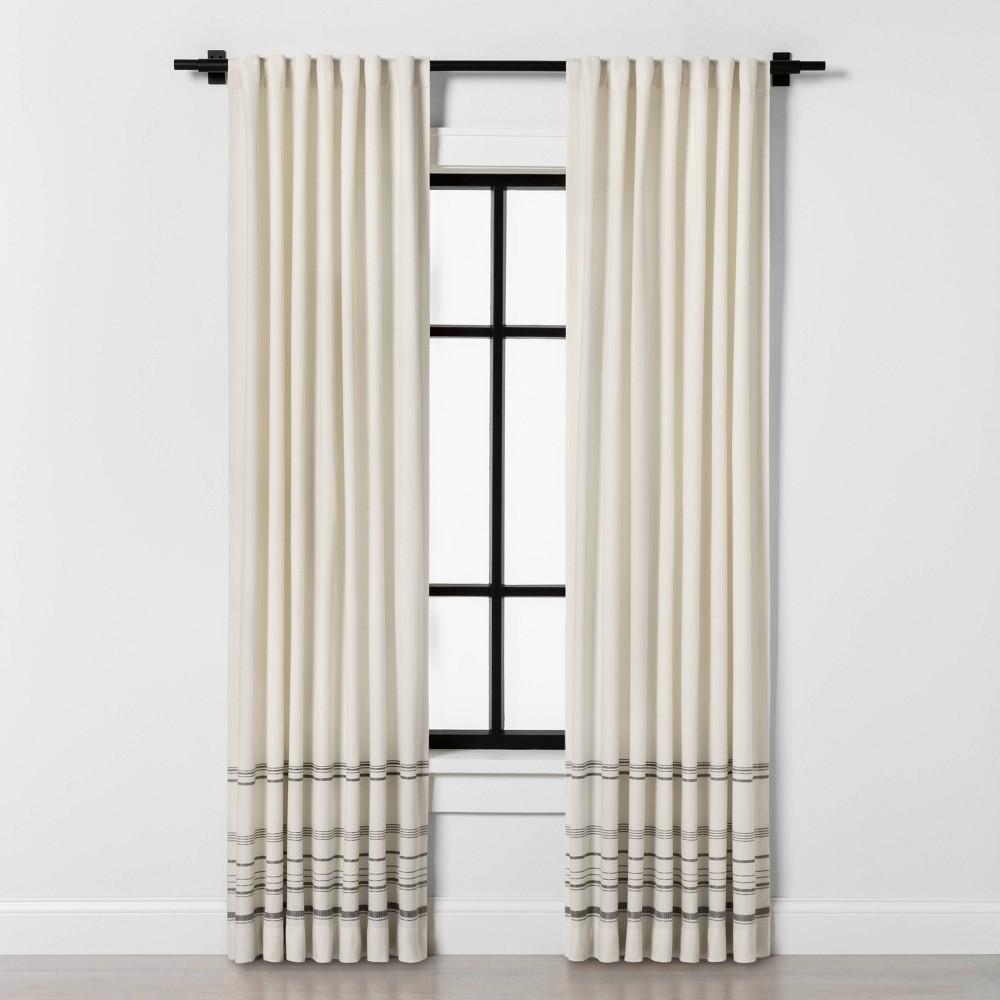 "Image of ""108"""" Engineered Hem Stripe Curtain Panel Gray / Sour Cream - Hearth & Hand with Magnolia"""
