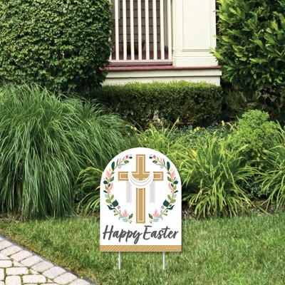Big Dot of Happiness Religious Easter - Outdoor Lawn Sign - Christian Holiday Party Yard Sign - 1 Piece