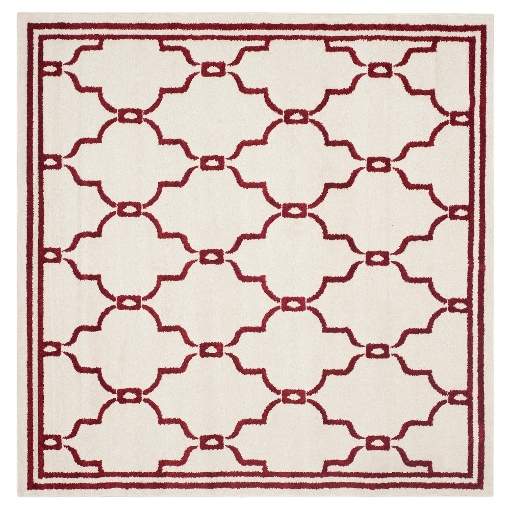 Prato Square 7'X7' Indoor/Outdoor Rug - Ivory/Red - Safavieh