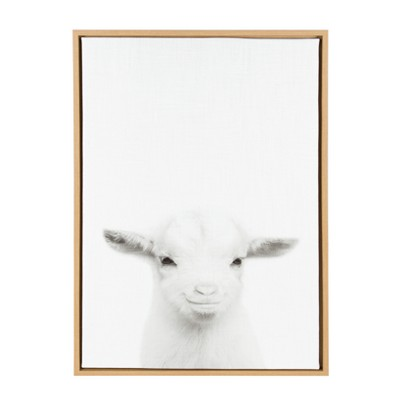 Kate & Laurel 33 x23  Sylvie Baby Goat And Portrait By Simon Te Tai Framed Wall Canvas Wood