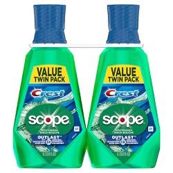 Crest Scope Outlast Long Lasting Mint Mouthwash -33.8 fl oz/2pk